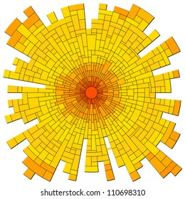 Vector illustration abstract background: mosaic red sun with rays in orange tone.