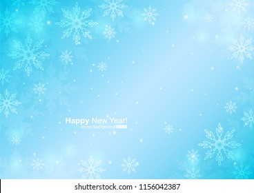 Vector illustration of abstract background with snowflakes for holiday. Template for invitations, congratulations, advertisements. Big and small snowflakes on the light blue gradient background.