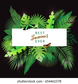 Vector Illustration of an Abstract Background with Tropical Leaves and modern brush lettering Summer theme