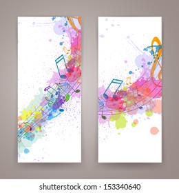 Vector Illustration of Abstract Banners with Music notes