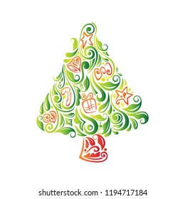 A vector illustration of Abstract Beautiful Christmas Tree