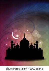 Vector illustration of abstract beautiful eid background with mosque.