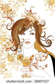 Vector Illustration of Abstract beautiful girl, holding the cocktail with flowers in hair