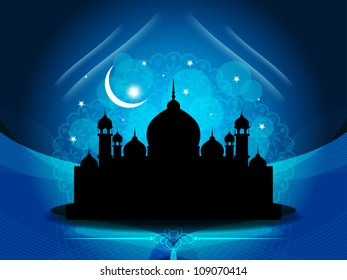 Vector illustration of abstract beautiful religious eid background with mosque.
