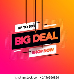 Vector illustration abstract big deal banner with coloful gradient for special offers, sales and discounts