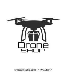 Vector illustration  of abstract  black drone  Logo. Isolated on white background