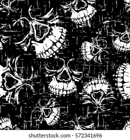 Vector illustration abstract black and white grunge skulls seamless background for cloth or t-shirt design