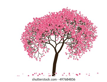 Vector illustration of an abstract blossoming cherry tree against white background