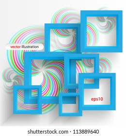 Vector illustration abstract blue 3D frame - eps10