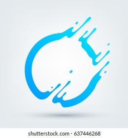 Vector illustration. Abstract blue circle. Dynamic splash liquid shape. Background for poster, cover, banner, placard. Logo design