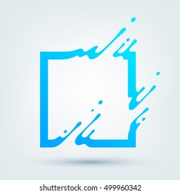 Vector illustration of abstract blue square. Abstract splash, liquid shape. Background for poster, cover, banner, placard. Logo design