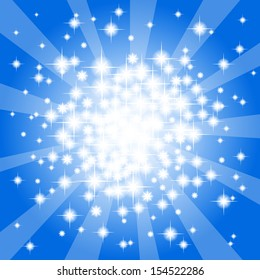 vector illustration of a abstract blue star background