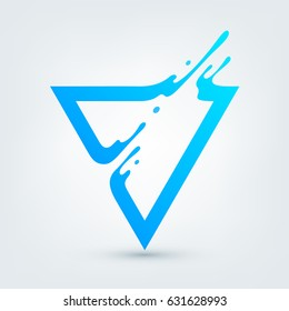 Vector illustration. Abstract blue triangle. Dynamic splash liquid shape. Background for poster, cover, banner, placard. Logo design