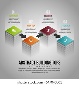 Vector illustration of abstract building tops infographic design element.