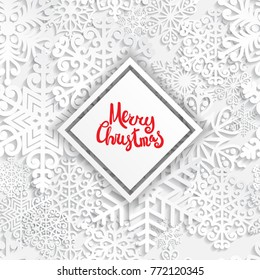 Vector illustration abstract Christmas background with volumetric snowflakes. Winter paper art design. 3D snowflakes with shadow. Xmas and new year card template