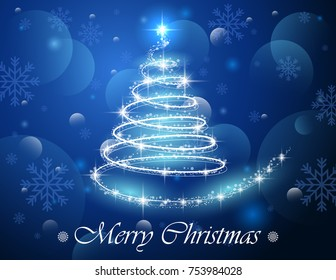 Vector illustration of Abstract Christmas tree from light