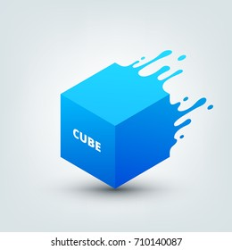Vector illustration of abstract colored 3d cube. Abstract splash, liquid shape. Background for poster, cover, banner, placard. Logo design