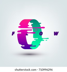 Vector illustration of abstract colored 3d ring. Abstract splash, liquid shape. Background for poster, cover, banner, placard. Logo design