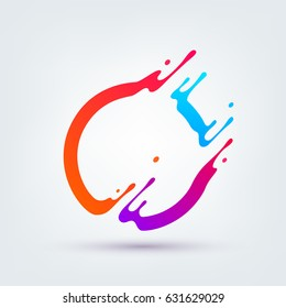 Vector illustration. Abstract colorful circle. Dynamic splash liquid shape. Background for poster, cover, banner, placard. Logo design
