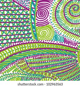 A vector illustration of an abstract colorful ornamental drawing.
