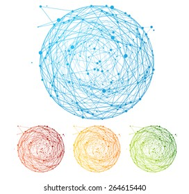 Vector illustration abstract colorful sphere set isolated on white background. Round composition of the molecular lattice. Information interoperability concept. Flat Design