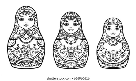 vector illustration, abstract, coloring book, set,  traditional Russian doll, floral ornament