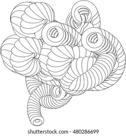 Vector illustration of an abstract complex structure consisting of geometric shapes on a white background. Suitable as a template for a coloring book