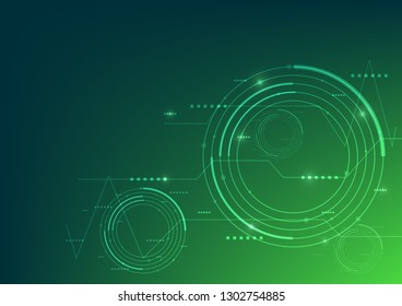 Vector illustration abstract computer technology green color background.