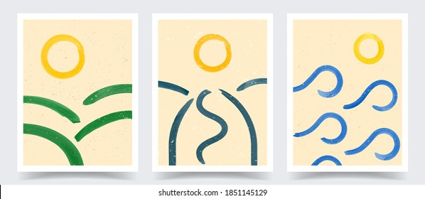 Vector illustration. Abstract contemporary aesthetic backgrounds. Design for cover, poster, postcard, card, flyer, brochure. Wall decor. Modern art print. Watercolor painting. Landscaped scene concept