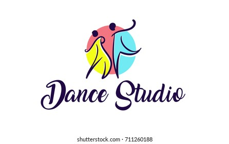 Vector illustration abstract couple icon in dance. Dance   studio logo design vector template.