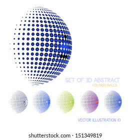 Vector illustration of abstract dotted spheres.