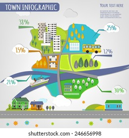 Vector illustration of abstract eco town infographics. Vector image.