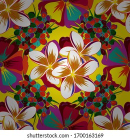 Vector illustration. Abstract elegance seamless pattern with floral motifs in yellow, red and white colors. Decorative plumeria flowers repeating pattern.