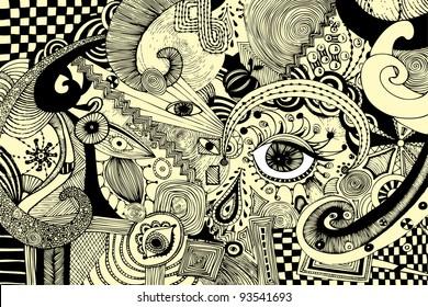 Vector illustration, abstract eyes artwork, card concept