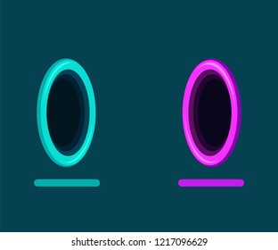 Vector illustration of abstract fantastic portal for teleportation on blue background. Plane colors
