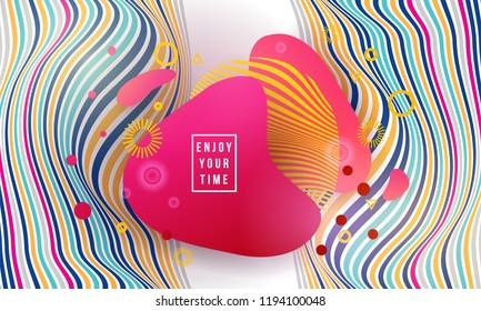 Vector illustration abstract figures of bright liquid new modern shapes for logo and presentations. Dynamical colored forms and line abstract banners with flowing fluid organic liquid shapes.