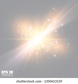 Vector illustration of abstract flare light rays. A set of stars, light and radiance, rays and brightness. Glow light effect. Vector illustration. Christmas flash Concept