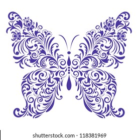 Vector illustration of abstract floral butterfly isolated on white background
