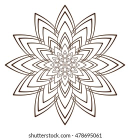 Easy Floral Black White Mandala Coloring Stock Vector Royalty Free
