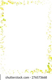 Vector illustration of abstract frame made of yellow stars on white background.