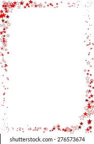 Vector illustration of abstract frame made of red stars on white background.