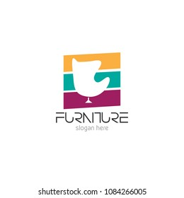 Vector illustration of abstract furniture logo design concept. Symbol and icon template of sofa, table, chair, and home interior