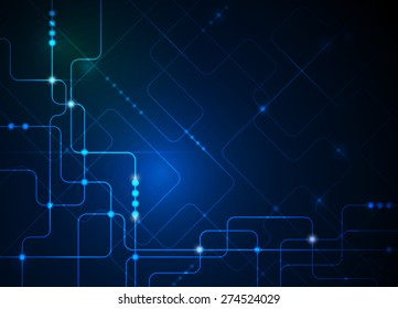 Vector illustration Abstract futuristic circuit board, high computer technology background ,green blue color background