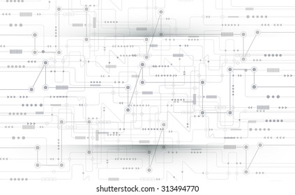 Vector illustration Abstract futuristic circuit board, high computer technology on light gray color background. Hi-tech digital technology concept