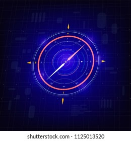 Vector illustration Abstract futuristic compass, high computer technology