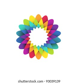 vector illustration of abstract geometric rainbow flower logo