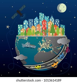 Vector illustration of abstract global data transfer technology, energy and transport on night sky