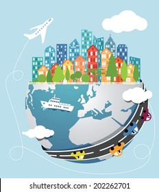 Vector illustration of abstract globalization from big cities to easy traveling