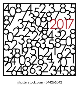 vector illustration of abstract greeting card with mixed numbers and red colored 2017 year for modern New Year graphic designs