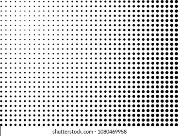 Vector illustration, abstract halftone backdrop in white and black tones in pop art style, monochrome geometric background with circles